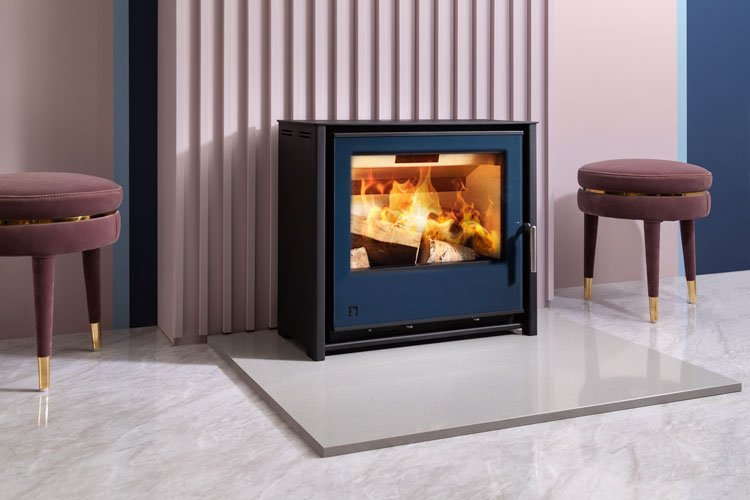 Arada i600 Slimline Freestanding stove in Atlantic blue