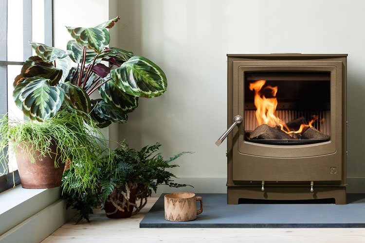 Farringdon Small Eco stove in Chestnut brown