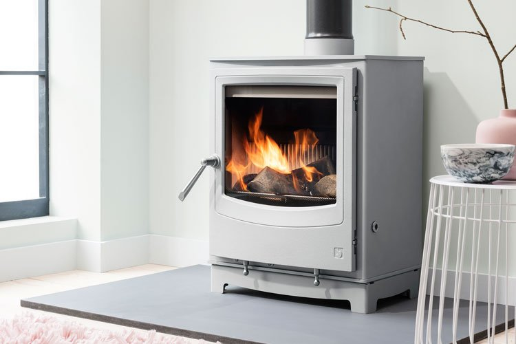 Farringdon Eco (Mist grey colour) freestanding wood burning stove