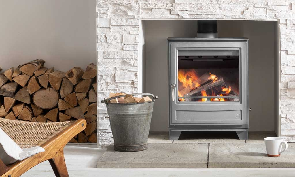 Ecoburn 5 Widescreen stove in mist grey, Ecodesign ready and clearskies approved