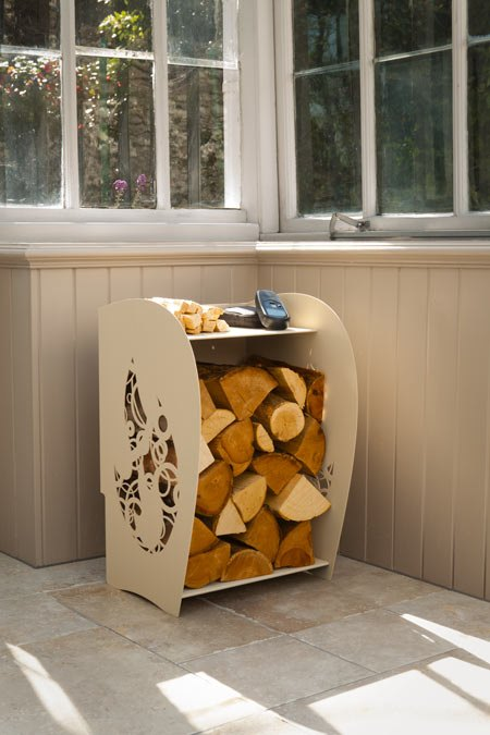 Halo Log store in Sandcastle cream colour made by Arada shown with logs stored