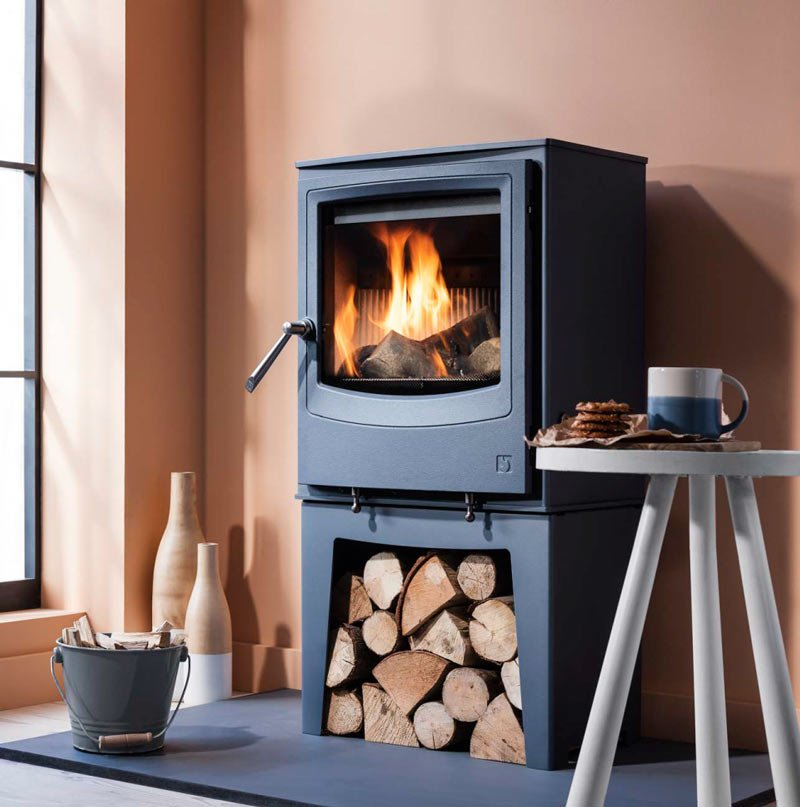 Stove shown: Farringdon Small Eco freestanding stove in Atlantic blue with colour-matched optional log store