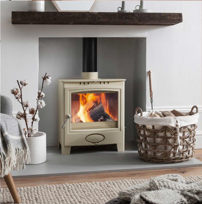 Stove shown: Ecoburn Plus 5 Widescreen in Sandcastle cream colour
